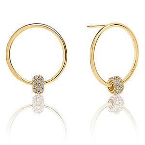 Sif Jakobs Lariano 18k Yellow Gold Plated Cubic Zirconia Hoop Stud Earrings SJ-E0303-CZ(YG)