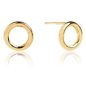 Sif Jakobs Valenza Pianura Uno 18k Yellow Gold Plated Hoop Circle Stud Earrings SJ-E0328(YG)