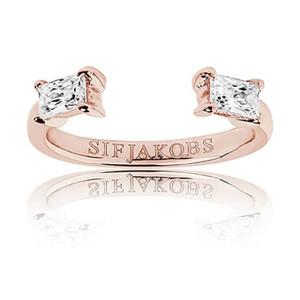 Sif Jakobs Antella Baguette Piccolo 18k Rose Gold Plated Cubic Zirconia Bag Cut Ring SJ-R011-CZ(RG)/56