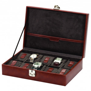 Mele & Co Brown Bonded Leather Watch Box For Men Fits 10 Watches 1545