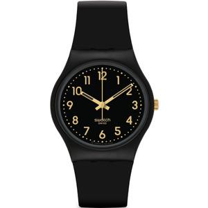 Swatch Golden Tac Unisex Quartz Black Dial Silicone Strap Watch GB274