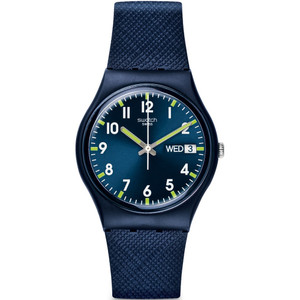 91ce6b79788 Swatch Sir Blue Unisex Quartz Day Date Blue Dial Silicone Strap Watch GN718