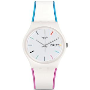 Swatch Edgyline Unisex Quartz Day Date White Dial Silicone Strap Watch GW708