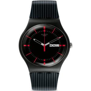 Swatch Gaet Men's Day Date Quartz Black Dial Silicone Strap Watch SUOB714