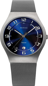 Bering Titianium Blue Dial Mesh Mens Watch 11937-078