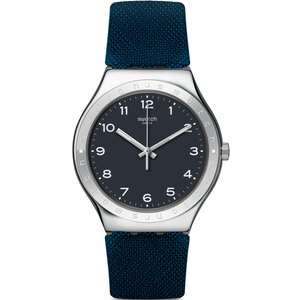 Swatch Inkwell Unisex Quartz Black Dial Rubber Strap Watch YWS102