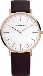 Bering Rose Gold Brown Leather Mens Watch 13738-564