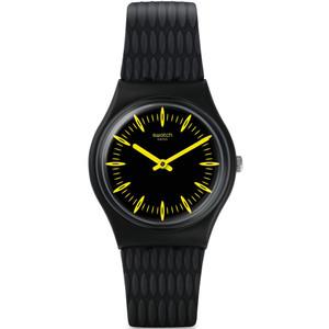 Swatch Vibe Giallonero Unisex Quartz Black Dial Silicone Strap Watch GB304