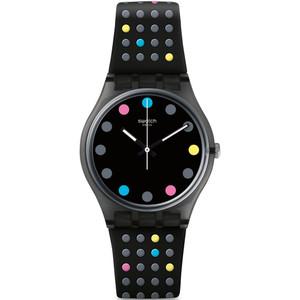 Swatch Vibe Boule A Facette Unisex Quartz Black Dial Silicone Strap Watch GB305