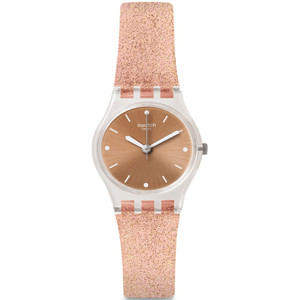 Swatch Pinkindescent Too Women's Quartz Brown Dial Silicone Strap Watch LK354D