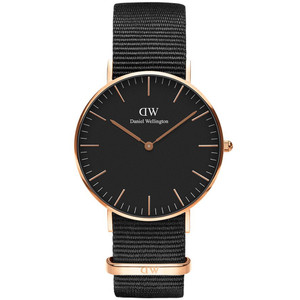 Daniel Wellington Women's Classic Black Cornwall Quartz Black Dial Nato Strap Watch DW00100150