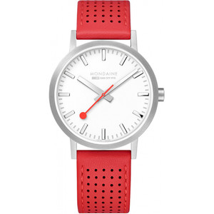 Mondaine Men's Classic White Dial Red Leather Strap 40mm Swiss Railways Watch A660.30360.16SBC
