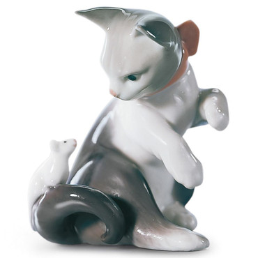 Lladro Porcelain Cat And Mouse Figurine 01005236