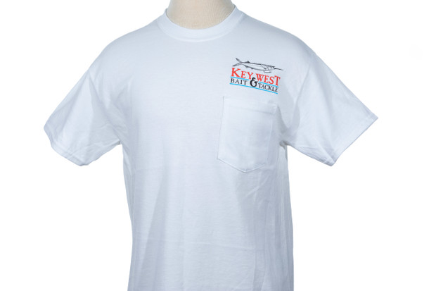 Key West Bait & Tackle Signature Logo Short Sleeve Pocket T-Shirt White Front
