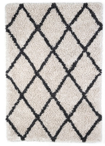 Ivory Silky Shag Rug with Graphite Diamond
