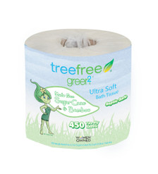 2 ply, 1 roll tree-free toilet paper