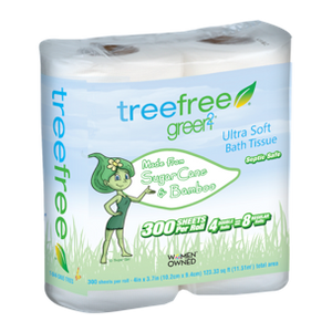 Tree Free Toilet Paper, 2 Ply, 4 Rolls