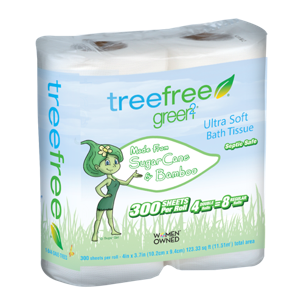 Tree Free Toilet Paper, 2 Ply, 4 Rolls