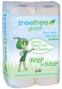 Tree Free Toilet Paper, 2 Ply, 12 Rolls