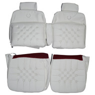 1987-1992 Cadillac Brougham D'Elegance With Button Pillow Custom Real Leather Seat Covers (Front)