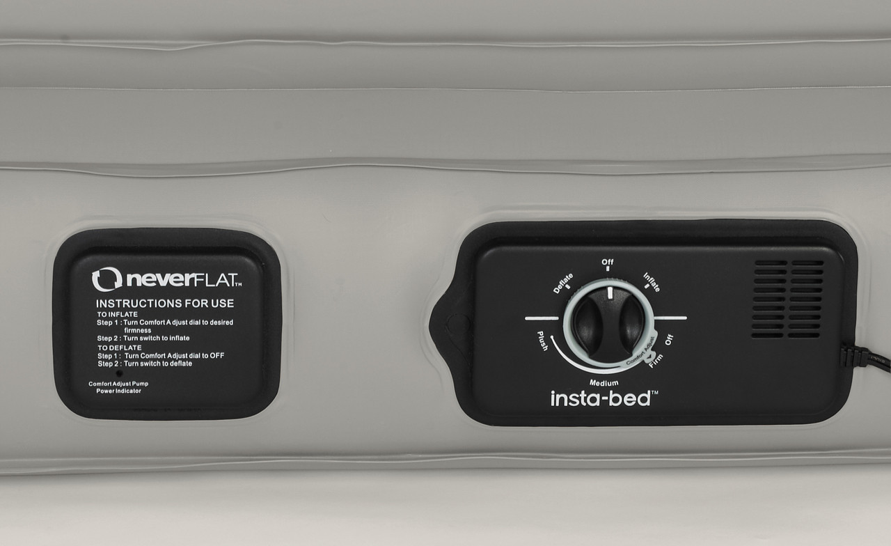 Close up of pump controls for Instabed Raised Twin w/neverFLAT™ Pump airbed