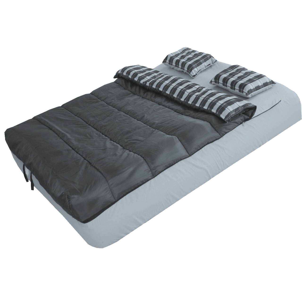 Instabed 6-Piece Bed Set For Airbeds - Gray, shown on an inflated airbed