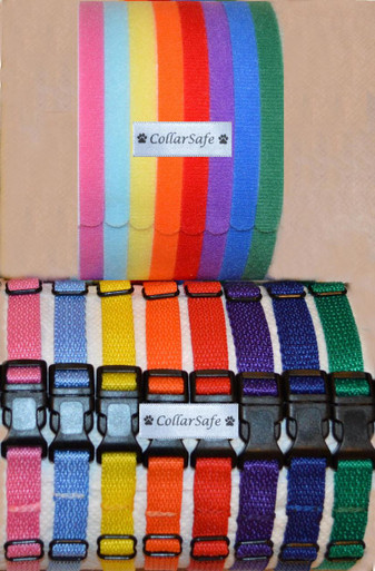 "CollarSafe's Deluxe Puppy ID Set of (8) includes: (8) Nylon ""Snap"" Collars AND (8) genuine Velcro Brand Bands. The colors you will receive are shown in photo and shade of color may vary slightly from time to time. Colors include: yellow, orange, red, purple, royal blue, kelly green, baby blue, pink"