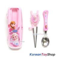 Disney Frozen Stainless Steel Spoon & Training Chopsticks Case Set Kids BPA Free