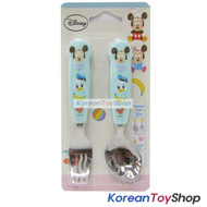 Disney-Mickey-Mouse-Stainless-Steel-Spoon-&-Noodle-Fork-Set-Kids-BPA-Free-BLUE