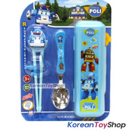 Robocar Poli Stainless Steel Spoon Training Chopsticks Case Set Poli Model Blue
