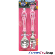 Robocar Poli Stainless Steel Cute Spoon Pork Case Set Amber Model Pink