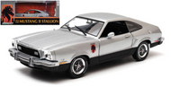 1976 FORD MUSTANG II STALLION SILVER 1/18 SCALE DIECAST CAR MODEL BY GREENLIGHT 12890