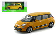 2013 Fiat 500L Yellow With White Top 1/24 Scale Diecast Car Model By Welly 24038