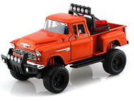 1955 Chevrolet 5100 Stepside Pickup Truck Off Road Orange Diecast Model 79133