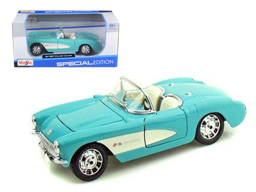 1957 Chevy Corvette Turquoise & White 1/24 Scale Diecast Car Model By Maisto 31275