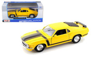 1970 Ford Mustang Boss 302 Yellow 1/24 Scale Diecast Car Model By Maisto 31943