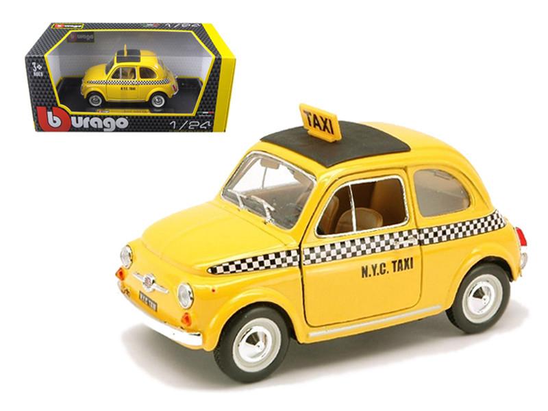 Fiat 500 Taxi Cab Yellow 1 24 Scale Diecast Car Model By Bburago