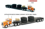 Newray 1/32 Scale 1979 Kenworth W900 Lowboy With BIG Tires Semi Truck & Trailer 10613