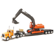 1996 Peterbilt Big Rig With Backhoe Semi Truck & Trailer 1/32 Scale By Newray 11283