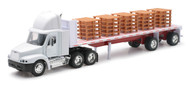 Freightliner Century Class Flatbed With Pallets Semi Truck & Trailer 1/32 Scale By Newray 10593
