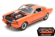 1965 Shelby GT350R Orange With Black Stripes & Engine Blower 1/18 Scale Diecast Car Model By Shelby Collectibles SC 514