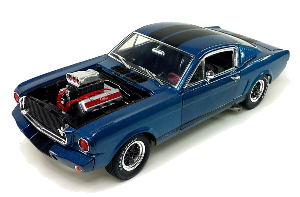 1965 Shelby Gt350r Blue With Black Stripes Engine Blower 1 18