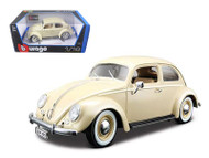 1955 VW Volkswagen Kafer Beetle Beige 1/18 Scale Diecast Car Model By Bburago 12029
