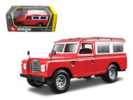 Old Land Rover Red 1/24 Scale Diecast Car Model By Bburago 22063