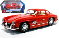 1954 MERCEDES BENZ 300SL GULLWING RED 1/18 SCALE DIECAST CAR MODEL BY BBURAGO 12047