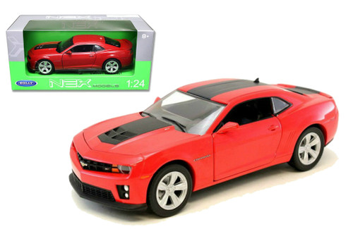 Chevrolet Camaro ZL1 Red Black Stripes 1/24 Scale Diecast Car Model By Welly 24042