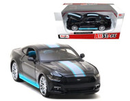 2015 Ford Mustang GT 5.0 With Stripes Black 1/24 Scale Diecast Car Model By Maisto 31369