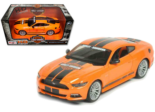 2015 Ford Mustang GT Orange Harley Davidson 1/24 Scale Diecast Car Model By Maisto 32188