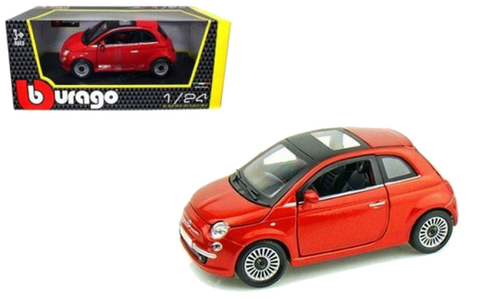 2007 Fiat 500 With Sunroof Red 1 24 Scale Diecast Car Model By