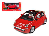Fiat 500C Cabriolet Red 1/24 Scale Diecast Car Model By Bburago 22117